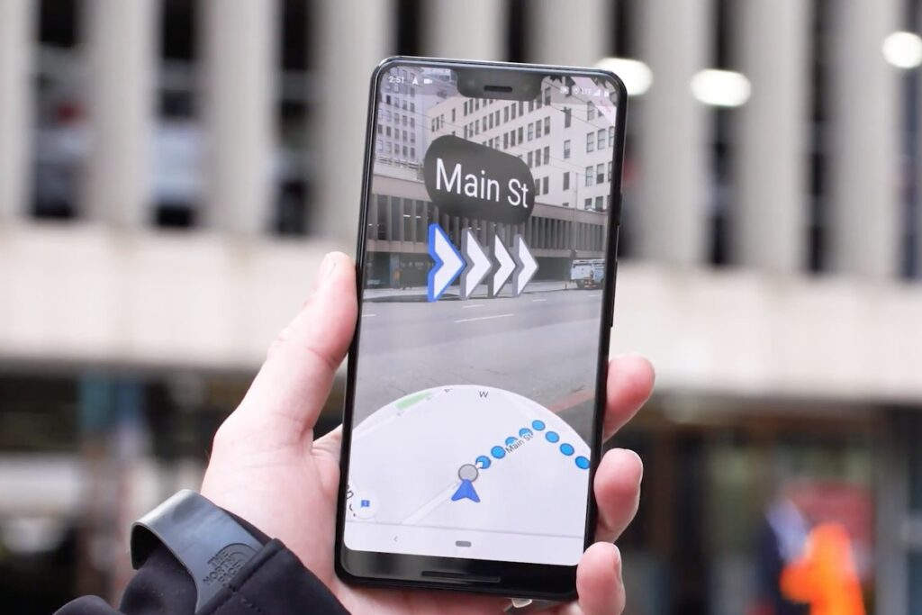AR Google Maps in de stad